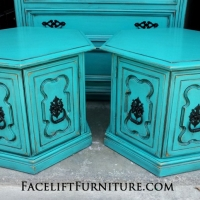 Hexagon End Tables in distressed Turquoise with Black Glaze. Original pulls painted black. From Facelift Furniture's Turquoise Refinished Furniture collection.