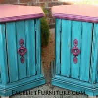 Hexagon End Tables in Pink and Turquoise, with Black Glaze. Original pulls painted pink. From Facelift Furniture's Turquoise Refinished Furniture collection.
