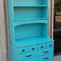 Maple Chest & Hutch in distressed Turquoise with Black Glaze. From Facelift Furniture's Turquoise Refinished Furniture collection.