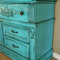 Ornate Dresser in Turquoise with Black Glaze. New Pulls. From Facelift Furniture's Turquoise Refinished Furniture collection.
