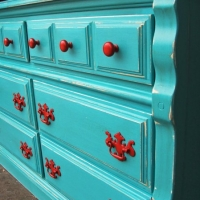 Turquoise Dresser with Paprika pulls. From Facelift Furniture's Turquoise Refinished Furniture collection.