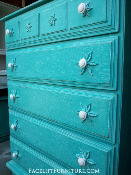 Distressed Turquoise Chest with White Glaze. From Facelift Furniture's Turquoise Refinished Furniture collection.