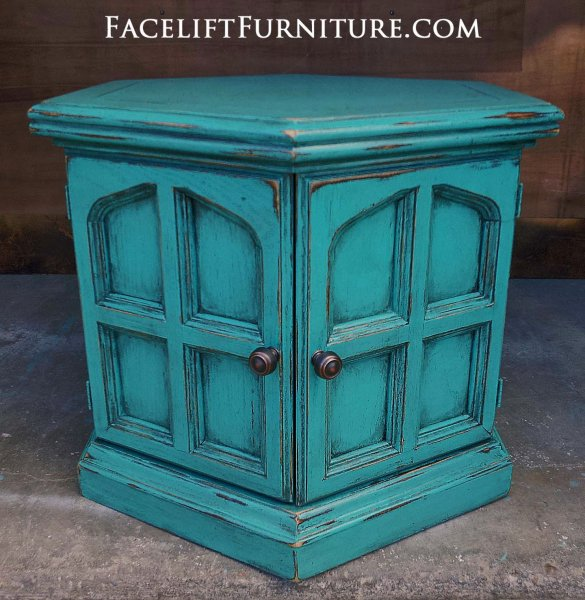 Turquoise Hexagon End Table with Black Glaze. From Facelift Furniture's Turquoise Refinished Furniture collection.