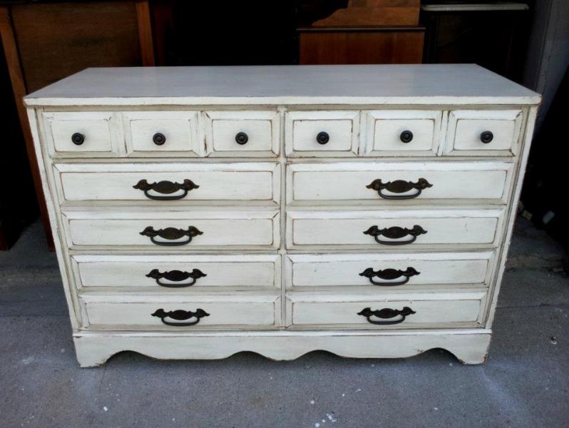 Dresser upstyled in Antiqued White and Espresso Glaze. Original hardware on lower drawers.