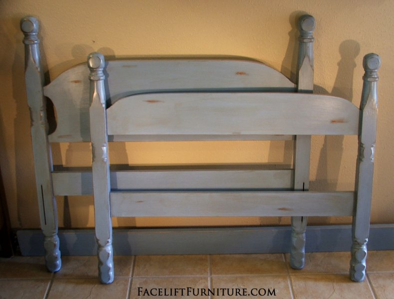 Twin bed in distressed Blue. Facelift Furniture DIY Inspiration.