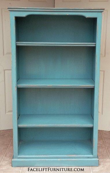 Tall Bookshelf in distressed Sea Blue. Three adjustable shelves.
