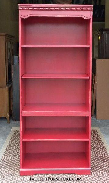 Large Bookshelf in distressed Barn Red with Black Glaze. Middle shelf adjustable.