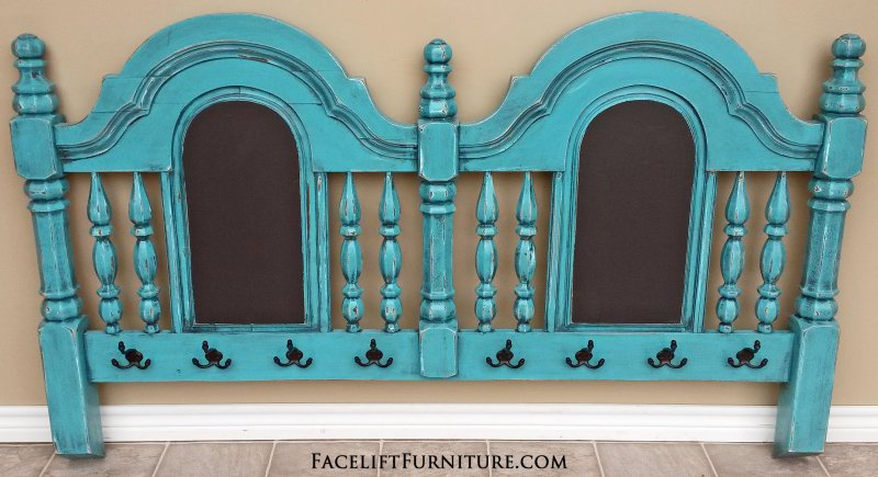 Chunky queen headboard painted, glazed, and distressed in Turquoise & Black glaze. Repurposed into a coat rack and chalkboards.