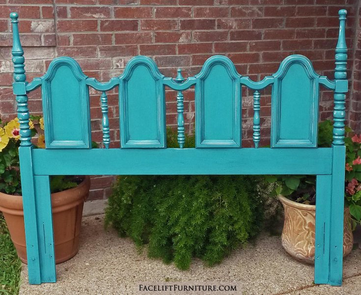 Distressed Turquoise queen headboard with Black Glaze. From Facelift Furniture's DIY Inspiration album.