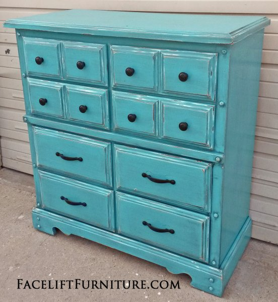 Wide Chest of Drawers in distressed Turquoise with Black Glaze. From Facelift Furniture's DIY Inspiration album.