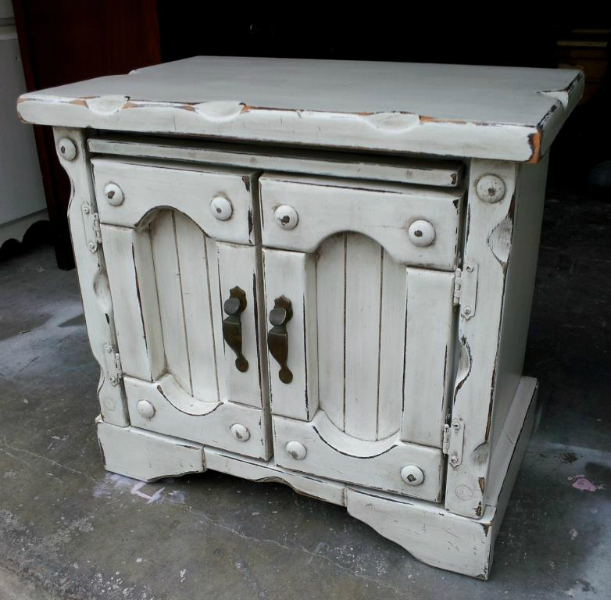 Thick & chunky nightstand, in Antiqued White, with Espresso Glaze and heavy distressing.  Original hardware.