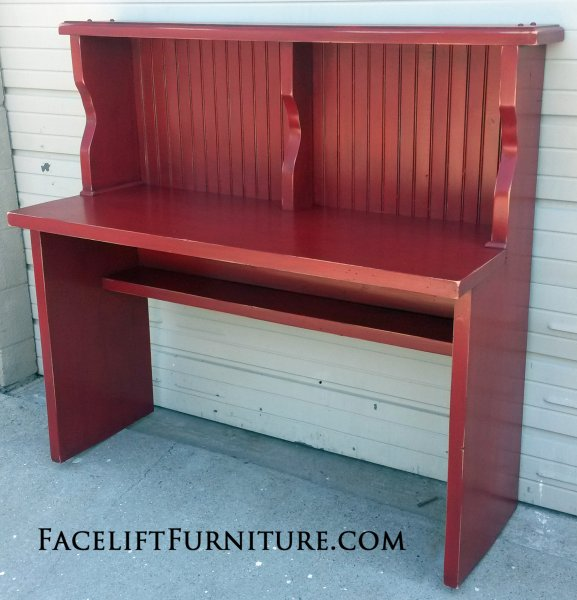 "Pine Desk in distressed Barn Red with Black Glaze. 50"" long, 20"" deep, 30"" tall desk, 49"" tall hutch."