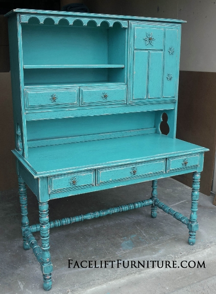 Ornate Vintage Desk with Hutch in Turquoise with Black Glaze.  Distressing reveals original red-orange color. From Facelift Furniture's DIY Inspiration album.