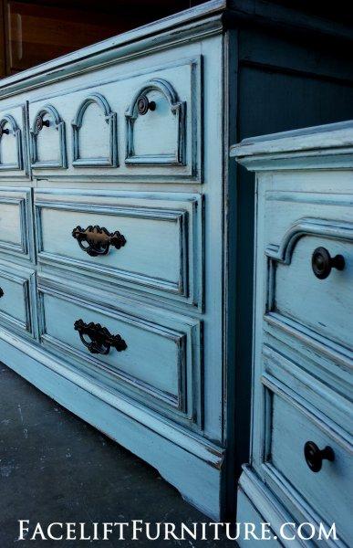 Dresser & Nightstand in distressed Robin's Egg Blue with Black Glaze.  Original pulls painted black. From Facelift Furniture's DIY Inspiration album.