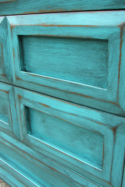 Dresser in Turquoise and heavy Black Glaze