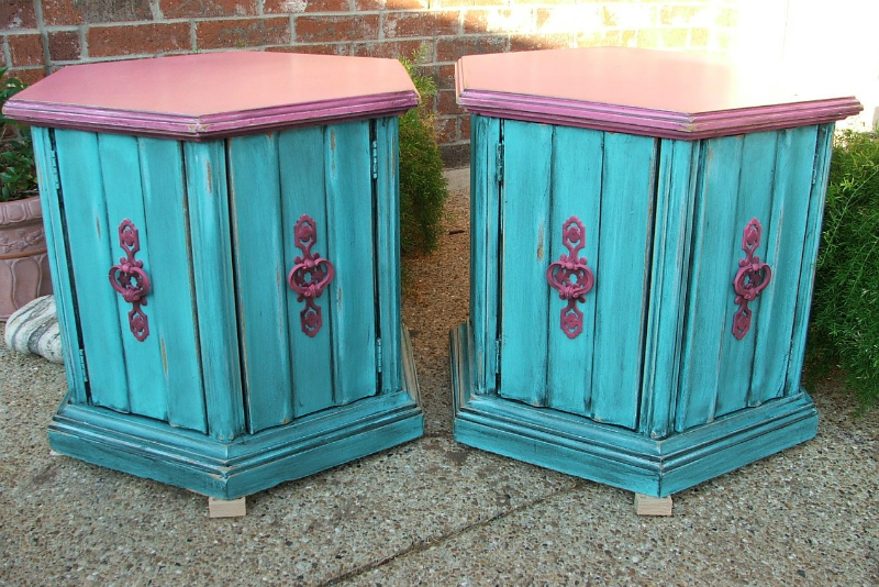 Hexagon end tables custom ordered in Turquoise and Pink, with original hardware painted pink.