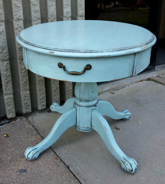 End Table custom painted in distressed Robin's Egg Blue, with Black Glaze. From Facelift Furniture's DIY Inspiration album.
