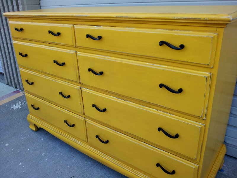 "Large Maple Dresser in Lowe's Valspar ""Golden Moon"", with light Tobacco Glaze and distressing.  New hardware. From Facelift Furniture's DIY Inspiration album."