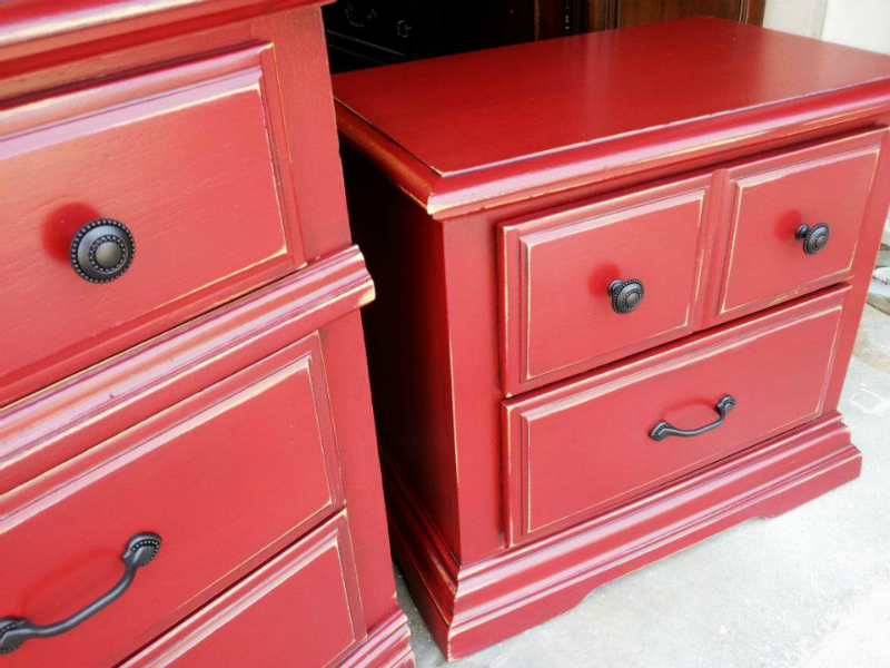Matching dresser & nightstand upstyled in Barn Red, with Black Glaze.  New Hardware.