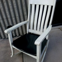 Multi-generational family rocker custom painted in Antique White with Espresso Glaze and Black.