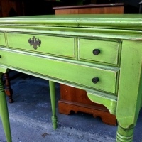 Antique sewing table in Lime Green and Black Glaze.  Purchased to be used as a vanity.