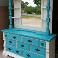 "Chunky Dresser with Mirror Hutch in distressed Off White & Turquoise with Black Glaze. Original pulls painted black. 66"" long, dresser 32.5"" tall, hutch 80"" tall, 19"" deep."
