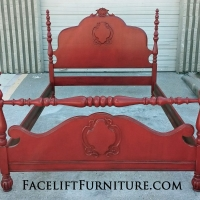 Four Poster Full Size Bed custom refinished in Barn Red with Black Glaze. Lightly distressed. From Facelift Furniture's DIY Inspiration album.