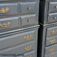 "Matching maple Chests of Drawers in Lowe's Valspar ""Smoke"" with Black Glaze.  Distressed, and with original hardware. From Facelift Furniture's DIY Inspiration album."