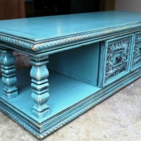 Chunky coffee table in distressed Sea Blue, with Black Glaze.