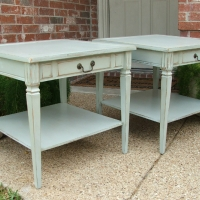 Matching End Tables in Weathered Grey and Tea Stained