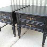 End tables custom Painted Black, with light distressing of edges.  Original hardware on drawers. From Facelift Furniture's DIY Inspiration album.