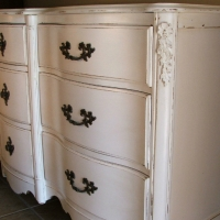 French Provincial Dresser in lightly distressed Antiqued White, and Tea Stained Glaze.