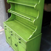 Maple hutch upstyled in Lime Green and Black Glaze.  New hardware from Lowe's (custom order)