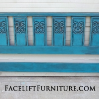 Ornate King Headboard in distressed Peacock Blue, with Black Glaze. From Facelift Furniture's DIY Inspiration album.