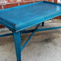 Antique coffee table in distressed Peacock Blue and Black Glaze.