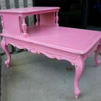 French Provincial End French Provincial end table in Pink and Sunwashed Glaze.