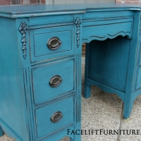 Vanity Desk in distressed Peacock Blue with Black Glaze. Original pulls.  From Facelift Furniture's DIY Inspiration album.