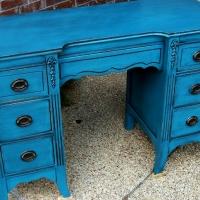 Antique vanity desk in distressed Peacock Blue and Black Glaze.  Original hardware.