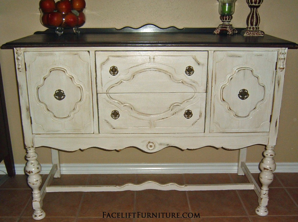 antiqued white buffet with dark brown top facelift furniture. Black Bedroom Furniture Sets. Home Design Ideas