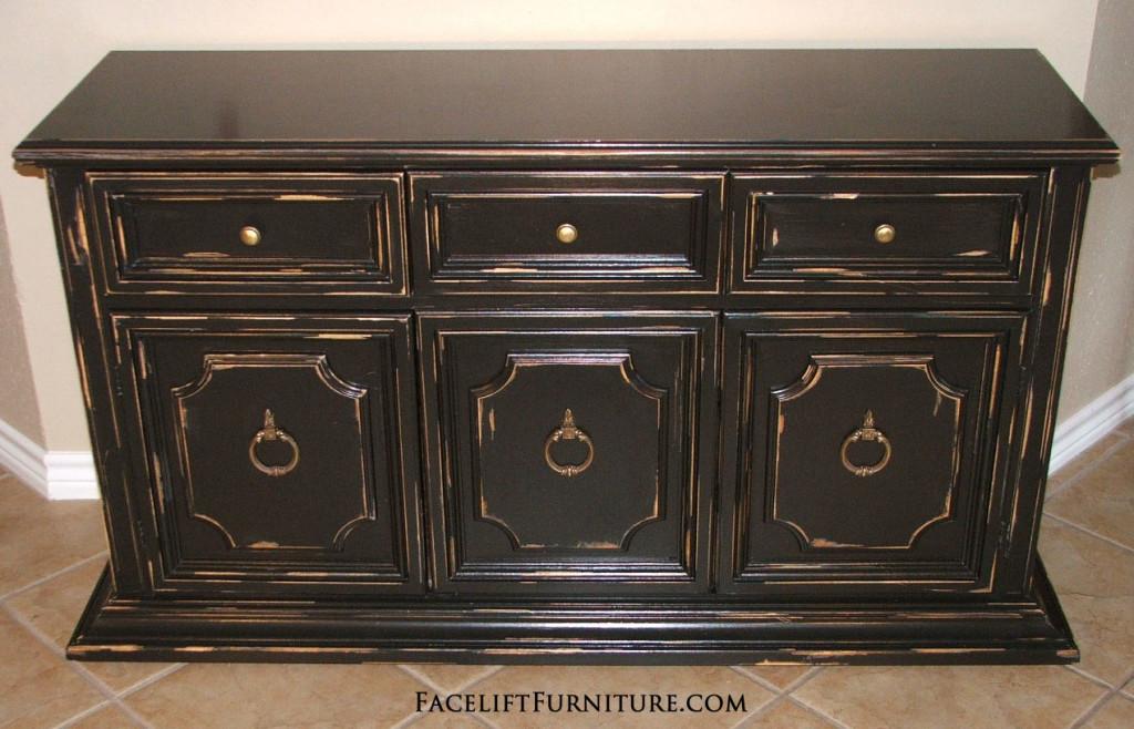 black distressed cabinet facelift furniture