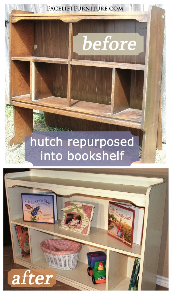Distressed painted furniture ideas - Hutch Repurposed Into A Bookshelf Facelift Furniture