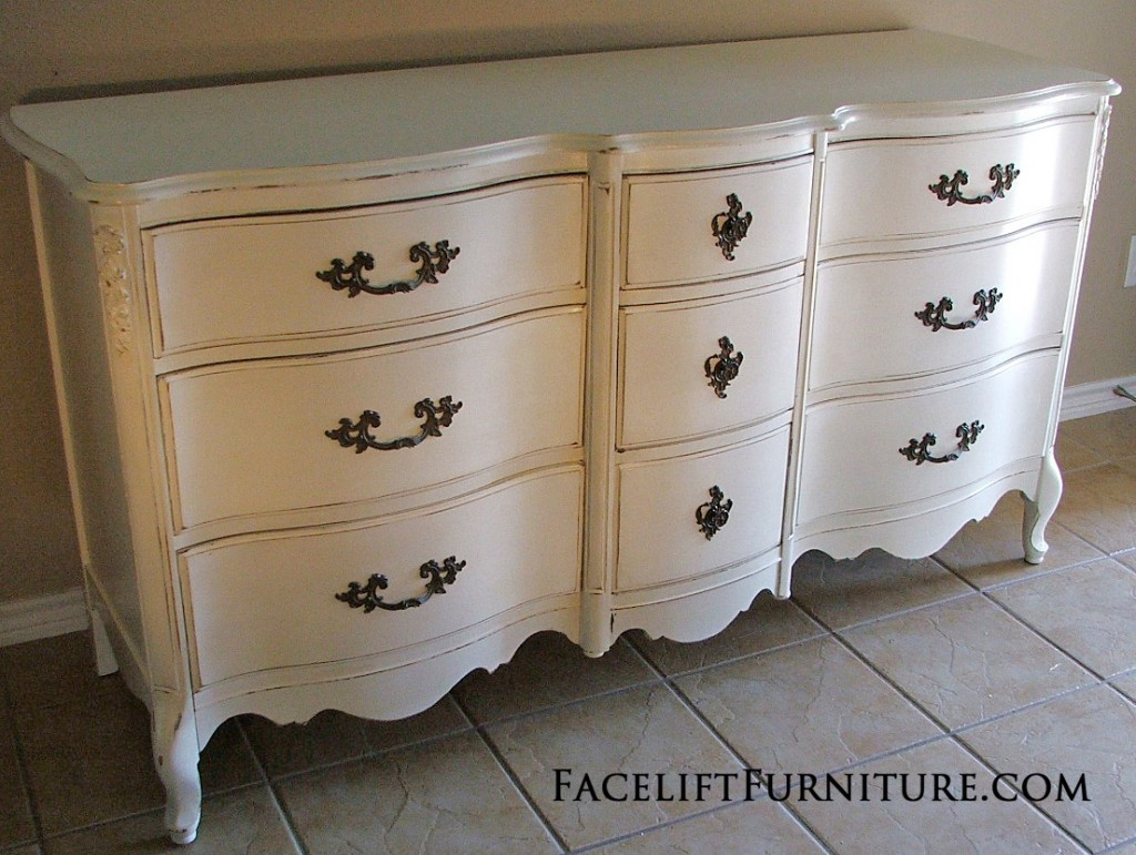 Distressed Antiqued White French Provincial Dresser Facelift
