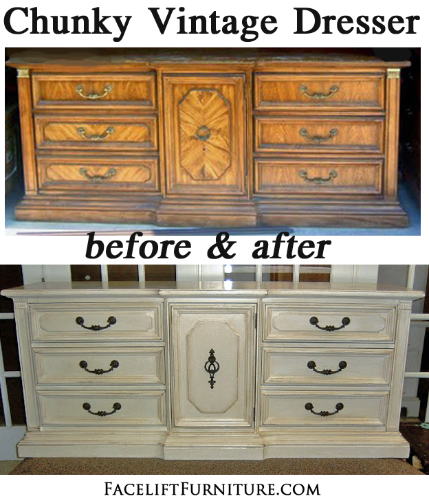 Antiqued White Dresser Before amp After Facelift Furniture
