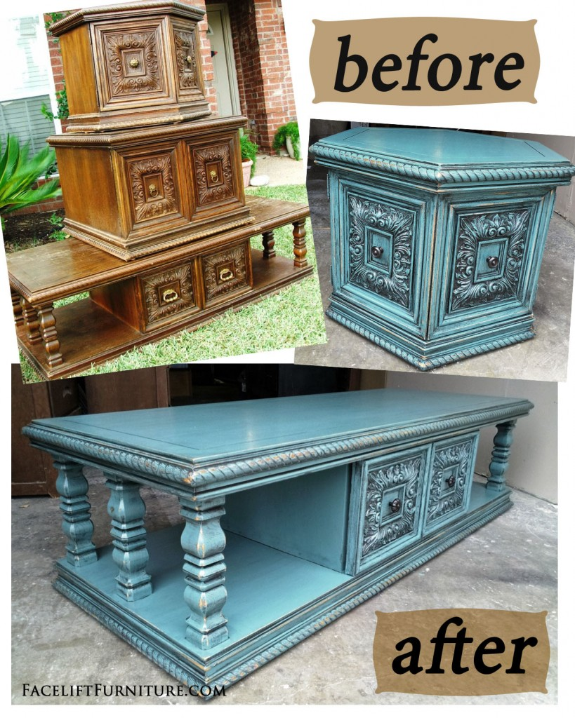 Sea Blue Chunky Coffee & End Tables - Before & After