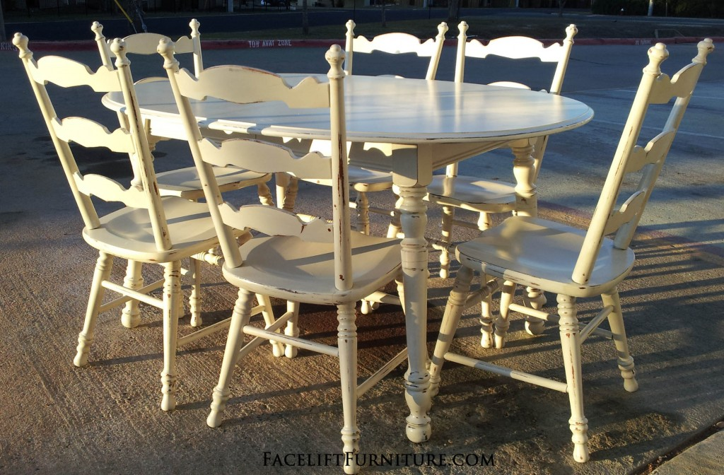 Antiqued White Maple Dining Set Facelift Furniture .