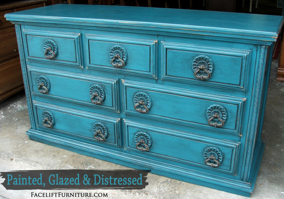 Peacock Blue Dresser with Flowered Pulls Facelift Furniture