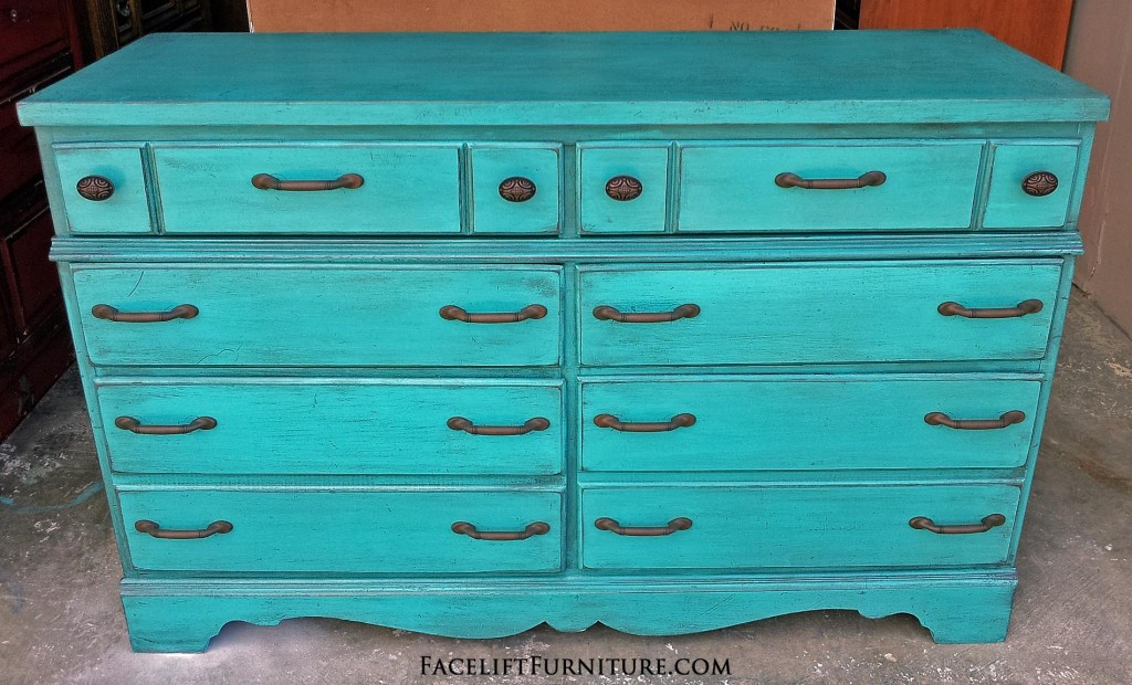 Rustic Turquoise Maple Dresser Before amp After Facelift