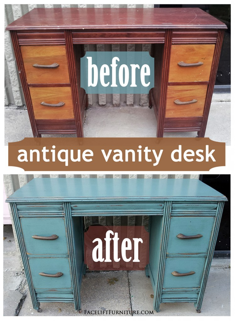- Sea Blue Antique Vanity Desk – Before & After Facelift Furniture