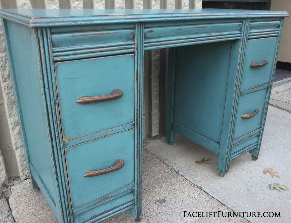- Sea Blue Antique Vanity Desk - Before & After - Facelift Furniture