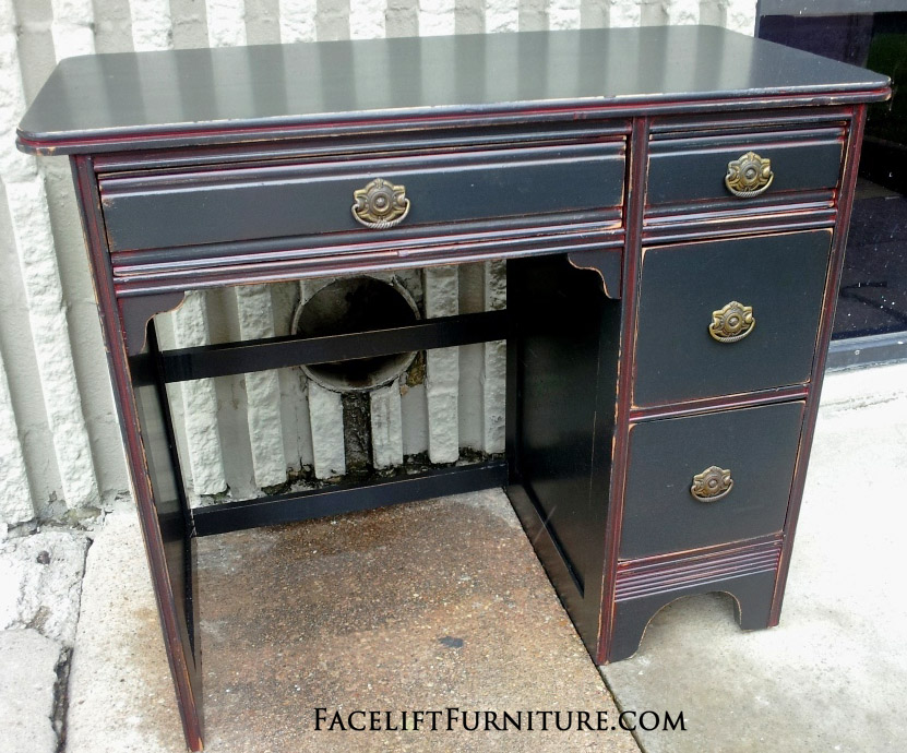 Black Desk Red Glaze Facelift Furniture - Improvised Red Glaze On Antique Desk Painted Black – Facelift Furniture